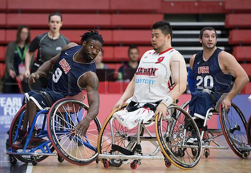 03.07.2016. Leicester Sports Arena, Leicester, England. Continental Clash Wheelchair Basketball, USA versus Japan.  Matt Scott (USA) and Hiroaki Kozai (JPN) clash wheelchairs during the match