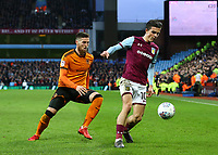 Jack Grealish of Aston Villa wins the ball from Matt Doherty of Wolverhampton Wanderers <br /> <br /> Photographer Leila Coker/CameraSport<br /> <br /> The EFL Sky Bet Championship - Aston Villa v Wolverhampton Wanderers - Saturday 10th March 2018 - Villa Park - Birmingham<br /> <br /> World Copyright &copy; 2018 CameraSport. All rights reserved. 43 Linden Ave. Countesthorpe. Leicester. England. LE8 5PG - Tel: +44 (0) 116 277 4147 - admin@camerasport.com - www.camerasport.com
