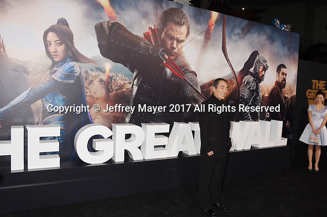 HOLLYWOOD, CA - FEBRUARY 15: Director Zhang Yimou arrives at the premiere of Universal Pictures' 'The Great Wall' at TCL Chinese Theatre IMAX on February 15, 2017 in Hollywood, California.