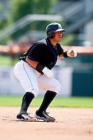 July 30, 2009:  Catcher Rene Rivera of the Buffalo Bisons leads off second during a game at Coca-Cola Field in Buffalo, NY.  Buffalo is the International League Triple-A affiliate of the New York Mets.  Photo By Mike Janes/Four Seam Images