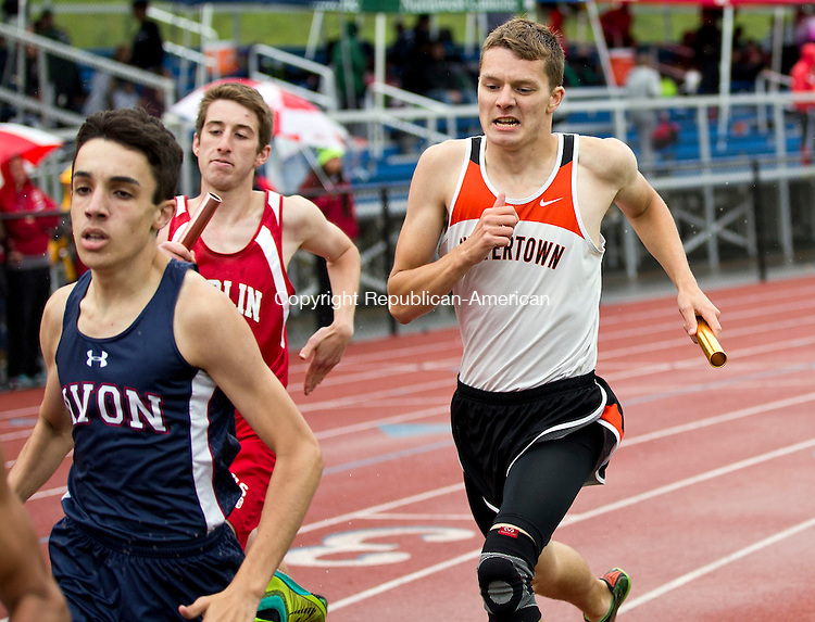 Middletown, CT- 02 June 2015-060215CM05- Watertown's Trevor Gursky, right, competes in the men's 4x800m relay during the Class MM Track and Field Championships at Middletown High School on Tuesday.    Christopher Massa Republican-American