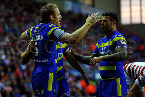 16.04.2015.  Wigan, England.  Super League Rugby. Wigan Warriors versus Warrington Wolves. Joel Monaghan of Warrington Wolves celebrates his try