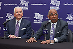 High Point Panthers men's basketball head coach Tubby Smith (right) answers questions as High Point University President Dr. Nido Qubein looks on at the Hayworth Fine Arts Center on the campus of High Point University on March 27, 2018 in High Point, North Carolina.  (Brian Westerholt/Sports On Film)