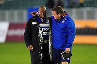 Beno Obano and Bath Rugby first team coach Toby Booth after the match. Anglo-Welsh Cup match, between Bath Rugby and Leicester Tigers on November 4, 2016 at the Recreation Ground in Bath, England. Photo by: Patrick Khachfe / Onside Images
