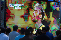 Miami, FL - Friday, July 4, 2014: Fans watch Nemar during the Brazil vs. Colombia Quarterfinal World Cup match in the Brickell neighborhood.