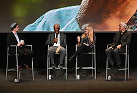 """LOS ANGELES - JUNE 5:  Matthew Carey, Morgan Freeman, Lori McCreary and James Younger attend an FYC event for National Geographic's """"The Story of God"""" at the TV Academy on June 5, 2019 in Los Angeles, California. (Photo by Scott Kirkland/National Geographic/PictureGroup)"""