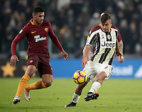 Calcio, Serie A: Juventus vs Roma. Torino, Juventus Stadium,17 dicembre 2016. <br /> Juventus&rsquo; Paulo Dybala, right, is challenged by Roma&rsquo;s Emerson Palmieri during the Italian Serie A football match between Juventus and Roma at Turin's Juventus Stadium, 17 December 2016.<br /> UPDATE IMAGES PRESS/Isabella Bonotto