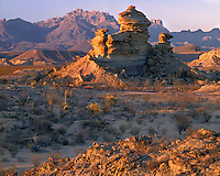 Sunrise light on eroded formations below the Chisos Mountains; Big Bend National Park, TX