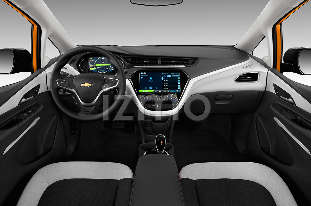 Stock photo of straight dashboard view of 2017 Chevrolet Bolt-EV LT 5 Door Hatchback Dashboard