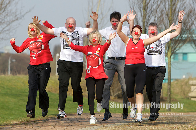 Pix: Shaun Flannery/shaunflanneryphotography.com...COPYRIGHT PICTURE>>SHAUN FLANNERY>01302-570814>>07778315553>>..17th March 2011..............Miller Homes Yorkshire..Head office staff prepare for a 'fund raising' run in aid of Comic Relief 2011..L-R Michelle Sumby, David Pearson, Pauline Jeffs, Adam Patterson, Debbie Swarbrick, Tony Whitehouse.