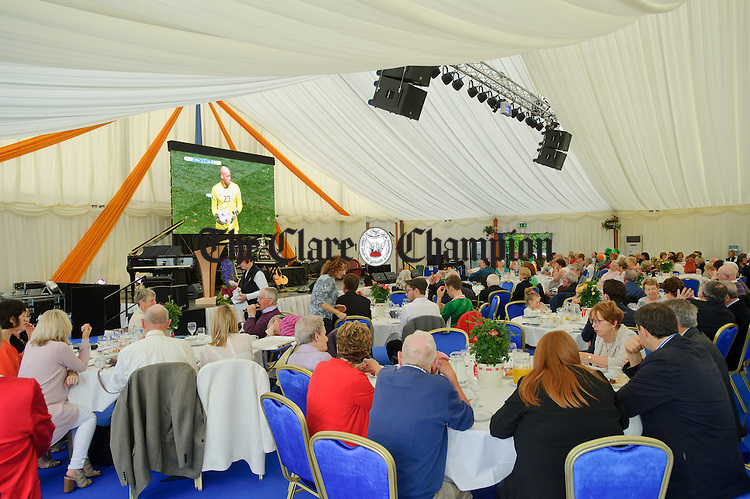 The Ireland V France game on the big screen during a Garden Party at Aras an Uachtarain hosted by President Michael D. Higgins and his wife Sabina. Photograph by John Kelly.