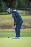 Shubhankar Sharma (IND) watches his putt on 14 during Round 1 of the Valero Texas Open, AT&amp;T Oaks Course, TPC San Antonio, San Antonio, Texas, USA. 4/19/2018.<br /> Picture: Golffile | Ken Murray<br /> <br /> <br /> All photo usage must carry mandatory copyright credit (&copy; Golffile | Ken Murray)