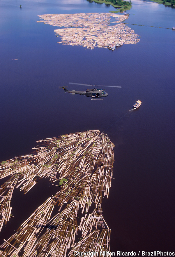 Brazilian Air Force helicopter during search for illegal logging activities in Amazon, Brazil.