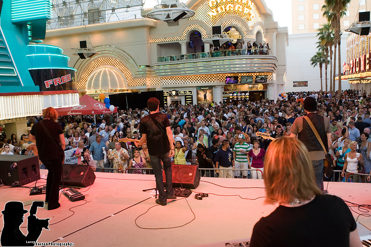 The Southwest spirit on Fremont Street Wednesday, May 6 when over 8,000 Southwest Airlines employees and guests gathered for the Southwest Airlines Spirit Party hosted by Fremont Street Experience and sponsored by the LVCVA. Partygoers will enjoying special entertainment at the 1st Street Stage from various venues throughout Las Vegas including performances by Classic Rock band, Yellow Brick Road, the multi - sensory and unique Blue Man Group, singer and comedian, Gordie Brown, and the sensational Rat Pack Is Back. The partiers enjoying the Fremont Street Experience Viva Vision