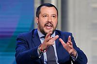 Matteo Salvini<br /> Roma 20/06/2018. Il Ministro dell'Interno ospite della trasmissione tv Porta a Porta.<br /> Rome 20th of June. Italian Minister of Internal Affairs appears as a guest on the talk show Porta a Porta .<br /> Foto Samantha Zucchi Insidefoto