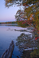The sun has not yet risen but the early morning pre-dawn light starts to illuminate the far shore of Pete's Lake in a pre-dawn glow in the Hiawatha National Forest in Schoolcraft County in Michigan's Upper Peninsula