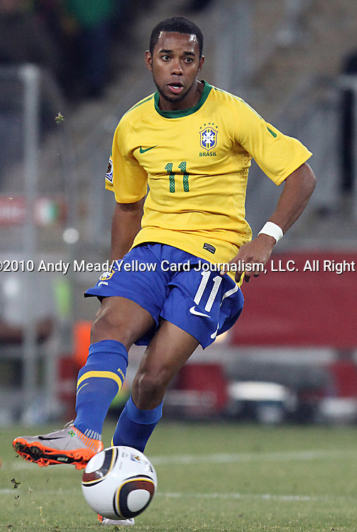 20 JUN 2010:  Robinho (BRA)(11).  The Brazil National Team defeated the C'ote d'Ivoire National Team 3-1 at the end of the first half at Soccer City Stadium in Johannesburg, South Africa in a 2010 FIFA World Cup Group G match.