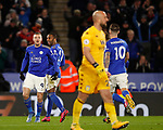Jamie Vardy of Leicester City celebrates scoring the second goal by appearing to taunt Pepe Reina of Aston Villa during the Premier League match at the King Power Stadium, Leicester. Picture date: 9th March 2020. Picture credit should read: Darren Staples/Sportimage