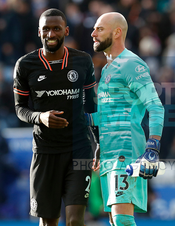 Antonio Rudiger and Willy Caballero after the Premier League match against Leicester City at the King Power Stadium, Leicester. Picture date: 1st February 2020. Picture credit should read: Darren Staples/Sportimage
