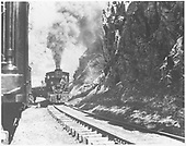 Engine #19 with an inspection train on the siding above Ophir.<br /> RGS  Ophir Loop, CO  ca 1912