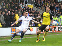 Bolton Wanderers Craig Noone in action with Burton Albion's Kyle McFadzean<br /> <br /> Photographer Mick Walker/CameraSport<br /> <br /> The EFL Sky Bet Championship - Burton Albion v Bolton Wanderers - Saturday 28th April 2018 - Pirelli Stadium - Burton upon Trent<br /> <br /> World Copyright &copy; 2018 CameraSport. All rights reserved. 43 Linden Ave. Countesthorpe. Leicester. England. LE8 5PG - Tel: +44 (0) 116 277 4147 - admin@camerasport.com - www.camerasport.com