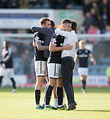 30th September 2017, Dens Park, Dundee, Scotland; Scottish Premier League football, Dundee versus Hearts; A big hug for Kerr Waddell from Dundee manager Neil McCann after the 19 year old defender had scored both his side's goals in the 2-1 win over Hearts