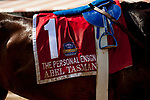 SARATOGA SPRINGS, NY - AUGUST 25: Abel Tasman's dirty saddlecloth after winning the Personal Ensign Stakes on Travers Stakes Day at Saratoga Race Course on August 25, 2018 in Saratoga Springs, New York. (Photo by Carson Dennis/Eclipse Sportswire/Getty Images)