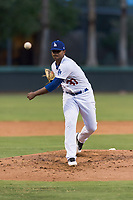 AZL Dodgers starting pitcher Robinson Ortiz (37) follows through on his delivery during an Arizona League game against the AZL Angels at Camelback Ranch on July 8, 2018 in Glendale, Arizona. The AZL Dodgers defeated the AZL Angels by a score of 5-3. (Zachary Lucy/Four Seam Images)