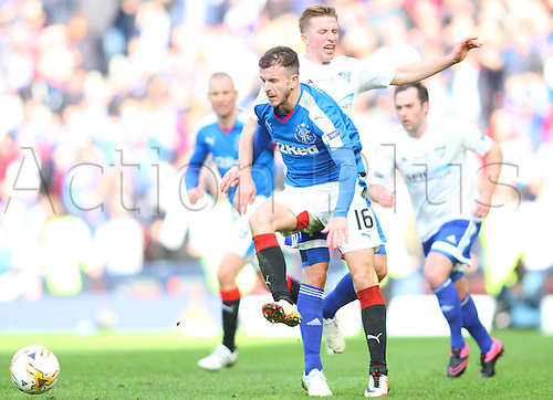 10.04.2016. Hampden Park, Glasgow, Scotland. Petrofac Training Cup Final. Rangers versus Peterhead. Andy Halliday is challenged by Kevin Dzierzawski