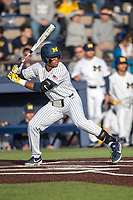 Michigan Wolverines outfielder Jordan Nwogu (42) at bat during the NCAA baseball game against the Eastern Michigan Eagles on May 8, 2019 at Ray Fisher Stadium in Ann Arbor, Michigan. Michigan defeated Eastern Michigan 10-1. (Andrew Woolley/Four Seam Images)