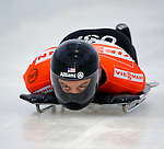 14 December 2007: Eric Bernotas, racing for the USA, starts his first run at the FIBT World Cup Skeleton Competition at the Olympic Sports Complex on Mount Van Hovenberg, at Lake Placid, New York, USA. Bernotas set back-to-back track records in his first and second runs, taking the first place for the men's event...Mandatory Photo Credit: Ed Wolfstein Photo