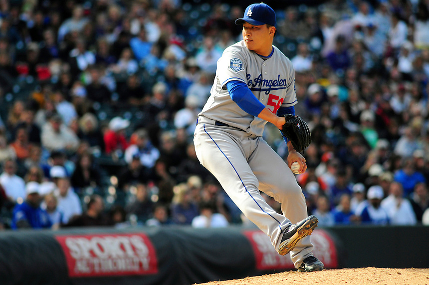 14 September 08: Los Angeles Dodgers pitcher Hong-Chih Kuo pitches against the Colorado Rockies. The Colorado Rockies defeated the Dodgers 1-0 in 10 innings at Coors Field in Denver, Colorado. FOR EDITORIAL USE ONLY