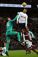 Dele Alli of Tottenham and Adrian of West Ham United during Tottenham Hotspur vs West Ham United, Premier League Football at Wembley Stadium on 4th January 2018