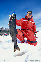 Ice fishing winter lake trout