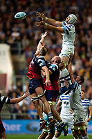 Dave Attwood of Bath Rugby rises high to win lineout ball. Gallagher Premiership match, between Bristol Bears and Bath Rugby on August 31, 2018 at Ashton Gate Stadium in Bristol, England. Photo by: Patrick Khachfe / Onside Images