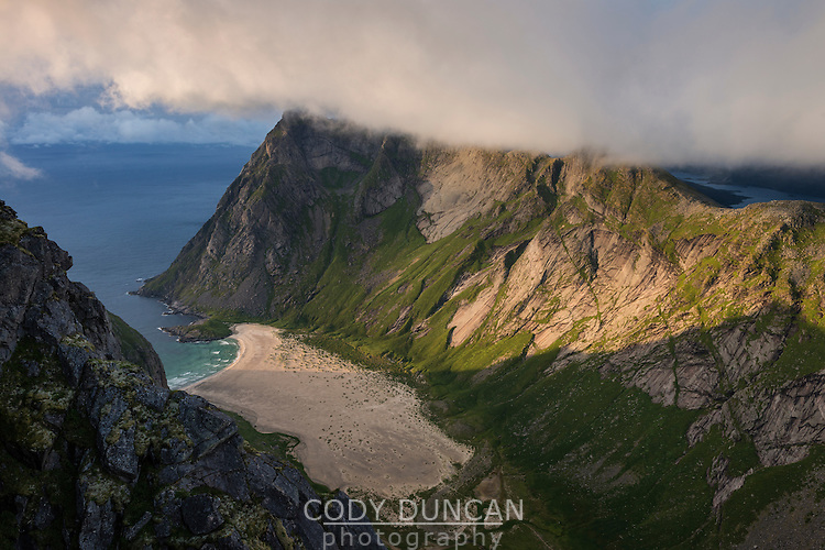 View over secluded Horseid beach from summit of Breiflogtind, Moskenesøy, Lofoten Islands, Norway