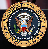 Washington, D.C. - April 20, 2005 -- The Seal of the President of the United States attached to the podium at the signing of the Bankruptcy Reform Bill in Washington, D.C. on April 20, 2005.  <br /> Credit: Ron Sachs / CNP