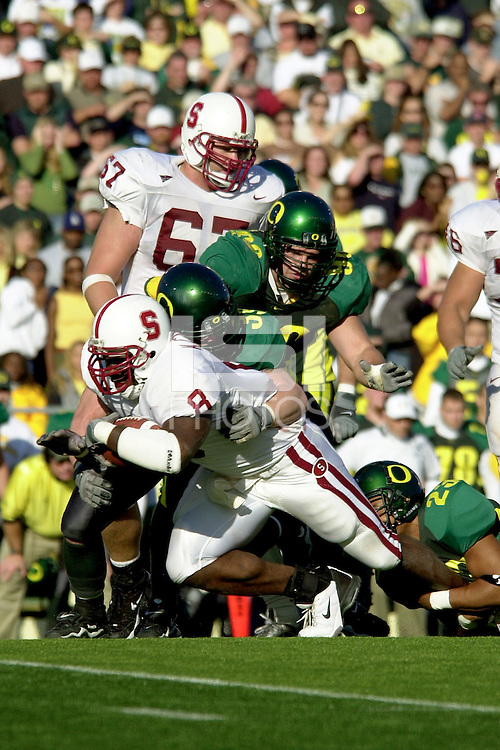 Kerry Carter makes a big first down during Stanford's final drive during Stanford's 49-42 win over Oregon on October 20, 2001 at Eugene, OR.<br />