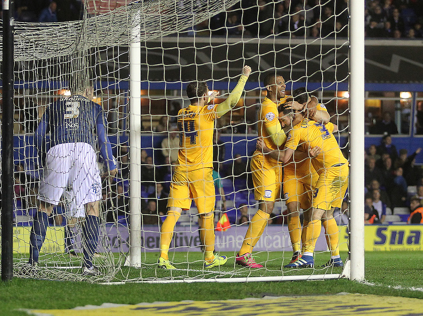 Preston North End's Greg Cunningham celebrates scoring his sides second goal  with his team mtes<br /> <br /> Photographer Mick Walker/CameraSport<br /> <br /> Football - The Football League Sky Bet Championship - Birmingham City v Preston North End - Tuesday 19th April 2016 - St Andrews - Birmingham<br /> &copy; CameraSport - 43 Linden Ave. Countesthorpe. Leicester. England. LE8 5PG - Tel: +44 (0) 116 277 4147 - admin@camerasport.com - www.camerasport.com