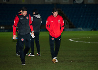 Fleetwood Town's players inspecting the Adam's Park playing surface before kick off.<br /> <br /> Photographer Andrew Kearns/CameraSport<br /> <br /> The EFL Sky Bet League One - Wycombe Wanderers v Fleetwood Town - Tuesday 11th February 2020 - Adams Park - Wycombe<br /> <br /> World Copyright © 2020 CameraSport. All rights reserved. 43 Linden Ave. Countesthorpe. Leicester. England. LE8 5PG - Tel: +44 (0) 116 277 4147 - admin@camerasport.com - www.camerasport.com