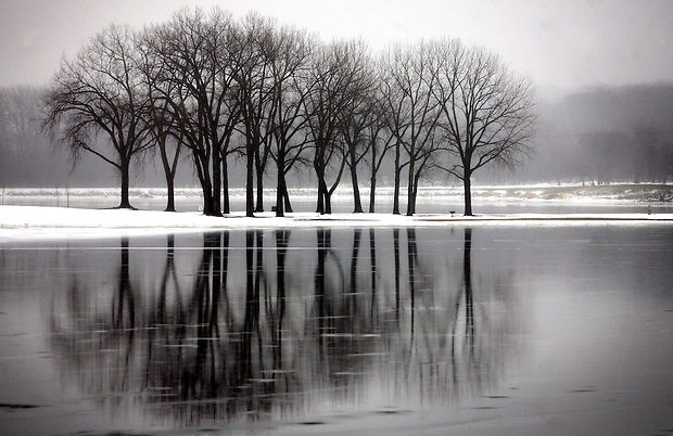 m1225weather - shot 12/24/09 Des Moines, IA.  Christopher Gannon/The Register  --   A group of trees stand amidst a placid Cray's Lake in Des Moines on Christmas Eve day, 2009.   (Christopher Gannon/The Des Moines Register)