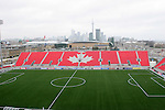 28 April 2007: A view of the East stand with downtown Toronto behind. Major League Soccer expansion team Toronto FC lost 1-0 to the Kansas City Wizards in the inaugural game at BMO Field in Toronto, Ontario, Canada, the first MLS game played outside of the United States.