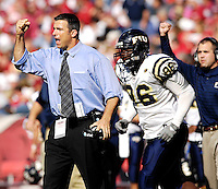 Florida International University Golden Panthers versus the University of Arkansas Razorbacks at Donald W. Reynolds Razorback Stadium, Fayetteville, Arkansas on Saturday, October 27, 2007.  The Razorbacks defeated the Golden Panthers, 58-10...FIU Football Head Coach Mario Cristobal reacts to a defensive stop in the third quarter.