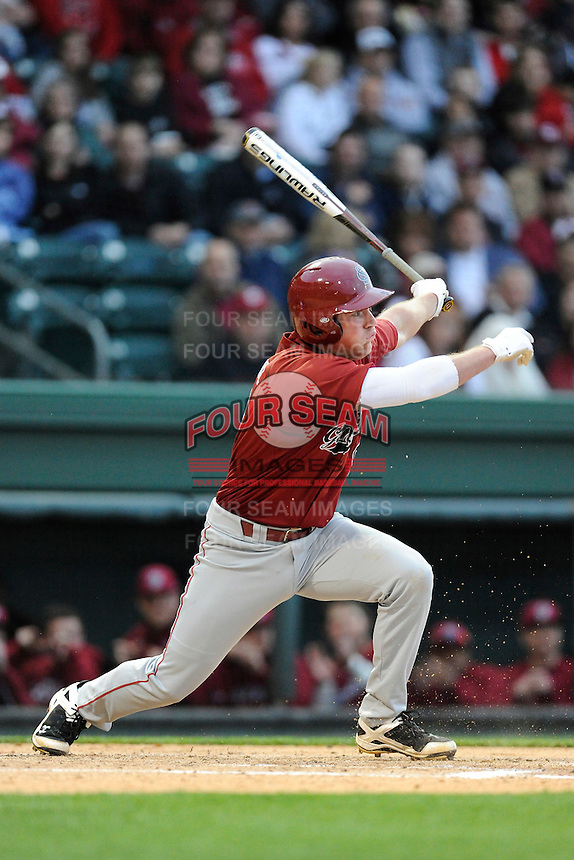 Third baseman Joey Pankake (9) of the South Carolina Gamecocks at bat in a game against the Furman Paladins on Tuesday, April 8, 2014, at Fluor Field at the West End in Greenville, South Carolina. (Tom Priddy/Four Seam Images)