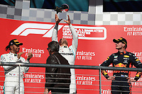 3rd November 2019; Circuit of the Americas, Austin, Texas, United States of America; Formula 1 United States Grand Prix, race day; Mercedes AMG Petronas Motorsport, Valtteri Bottas takes first place followed by Lewis Hamilton and Aston Martin Red Bull Racing, Max Verstappen - Editorial Use