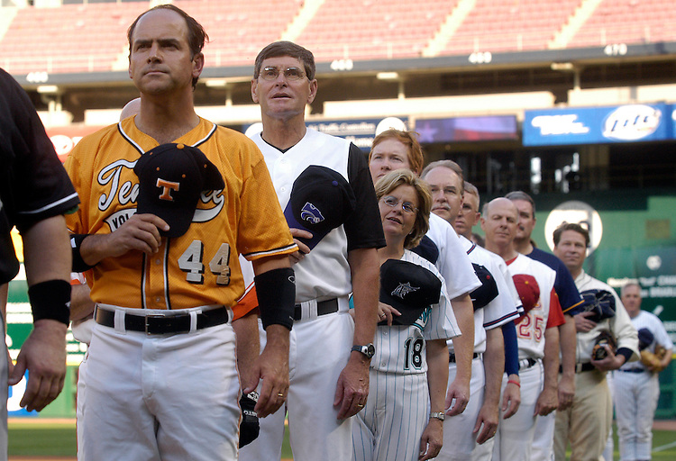 The GOP line-up at the 44th Annual Congressional Baseball Game at RFK stadium.
