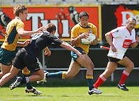 Tawera Kerr-Barlow lines up Kenneth Robertson during the International rugby match between New Zealand Secondary Schools and Suncorp Australia Secondary Schools at Yarrows Stadium, New Plymouth, New Zealand on Friday, 10 October 2008. Photo: Dave Lintott / lintottphoto.co.nz