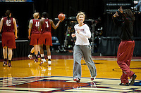 INDIANAPOLIS, IN - APRIL 2, 2011: Coach Kate Paye during an open practice session at Conseco Fieldhouse at the NCAA Final Four in Indianapolis, IN on April 1, 2011.
