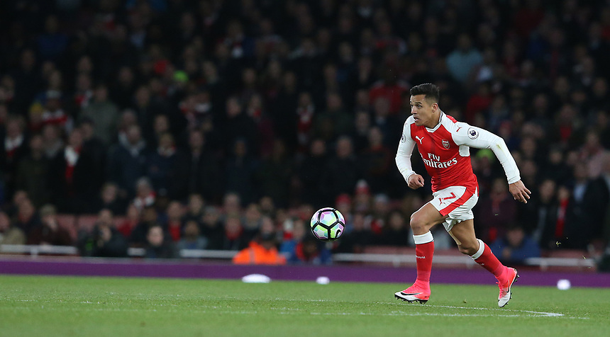 Arsenal's Alexis Sanchez<br /> <br /> Photographer Stephen White/CameraSport<br /> <br /> The Premier League - Arsenal v Leicester City - Wednesday 26th April 2017 - Emirates Stadium - London<br /> <br /> World Copyright &copy; 2017 CameraSport. All rights reserved. 43 Linden Ave. Countesthorpe. Leicester. England. LE8 5PG - Tel: +44 (0) 116 277 4147 - admin@camerasport.com - www.camerasport.com