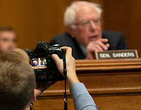United States Senator Bernie Sanders (Independent of Vermont), scene in the screen of a camera, participates in a hearing held by the United States Senate Committee on Environment and Public Works to confirm Andrew Wheeler be Administrator of the Environmental Protection Agency January 16, 2019, on Capitol Hill in Washington, DC. Credit: Chris Kleponis / CNP /MediaPunch